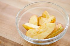How to Prevent Fruit from Browning ~ Mix 2 TBL honey with 1 cup water.  A 30 second dunk in honey water keeps apples from browning for up to 8 hours. ~ America's Test Kitchen