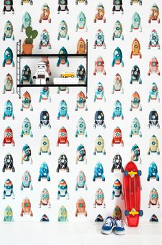 Boys Love To Go The Moon In Rockets Non Woven Wallpaper Goes On Easily Comes Off Easy