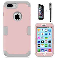 iPhone 7 Plus Case, NCIE Hard PC Shell and Soft Silicone Hybrid iPhone 7 Plus Cases 3 in 1 Pieces Shockproof Anti-Scratch Combo Cover for Apple iPhone 7 Plus (Rose Gold Gray) >>> Find out more about the great product at the image link.