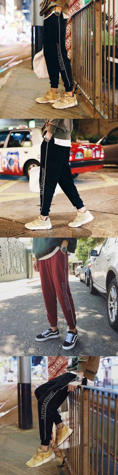 2017 Autumn/Winter New men's products Japanese alphabet printed loose Sweatpants Fashion ankle banded pants Good fabrics pants