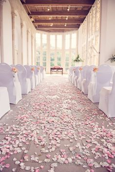 The Wintergarden at Highcliffe Castle Wedding Venue with Rose Petals,Photography by one thousand words wedding photographers