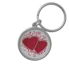 Two Red Hearts For Valentine's Day Key Chains   •   This design is available on t-shirts, hats, mugs, buttons, key chains and much more   •   Please check out our others designs at: www.zazzle.com/ZuzusFunHouse*