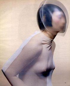 Cocoon dress by Hussein Chalayan, glass headpiece by Emi Fujita for Chalayan