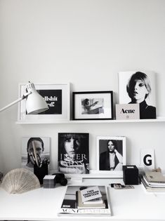 {Black and white workspace.}
