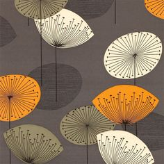 Dandelion Clocks by Sanderson - Slate - Wallpaper : Wallpaper Direct