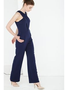 Navy Crossover Neck Wide Leg Jumpsuit