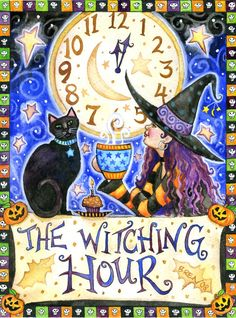 The Witching Hour - 5x6.75 print - by Brenna White - witch black cat moon stars fall autumn halloween