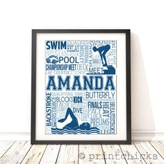 Swimming Personalized Print - PrintChicks