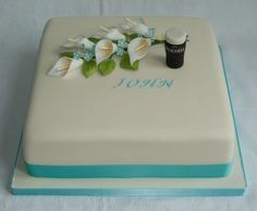 I was asked to make this cake for a funeral wake. The day of the wake would have been his 75th Birthday. The family requested a cream cake, with manly flowers and a reference to Guinness (his favourite tipple!) I decided upon Calla Lilies and Forget-me-nots with a tiny little pint of Guinness. www.thecustomcakeshop.co.uk To keep up to date with my lastest work please feel free to join me on my Facebook business page www.facebook.com/TheCustomCakeShop Calla Lily Cake, Calla Lilies, Funeral Cake, Funeral Reception, Funeral Memorial, 75th Birthday, Just Cakes, Cream Cake, Pastor