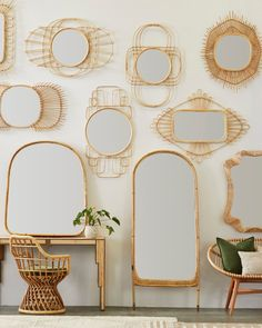 Whimsical + bohemian rattan gallery wall with luxe, velvet pillows. Rattan floor mirror with brass accents. Mantle Mirror, Mirror Mirror, Mirror Gallery Wall, Bamboo Mirror, Colourful Cushions, Burke Decor, Rattan Furniture, Floor Mirror, My New Room