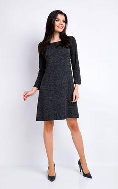 Dark Grey Melange A Line Dress With 7/8 Sleeves - SilkFred