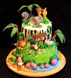 2nd Birthday Cake Boy, 1st Birthday Foods, Jungle Birthday Cakes, Animal Birthday Cakes, Animal Cakes, Jungle Safari Cake, Jungle Theme Cakes, Safari Cakes, Farm Cake