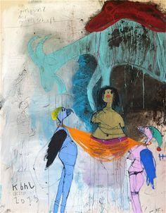 "Peter Kohl, ""am Spielplatz der Gesellschaft"", mixed media on canvas, 200 x 150 cm,"