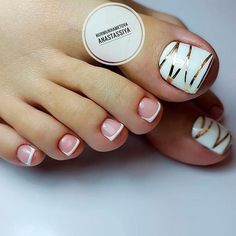 Looking for new pedicure ideas is a fun way to get ready for spring. Take a look at some of the best pedicure designs we've seen and get inspiration for . Nail Art Designs, Pretty Nail Designs, Toe Nail Designs, Pedicure Colors, Manicure E Pedicure, Nail Colors, Pedicure Ideas, White Pedicure, Cute Toe Nails
