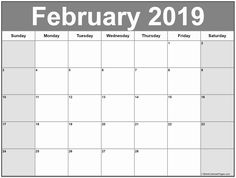 February 2019 Calendar Template Large February 2019 Calendar