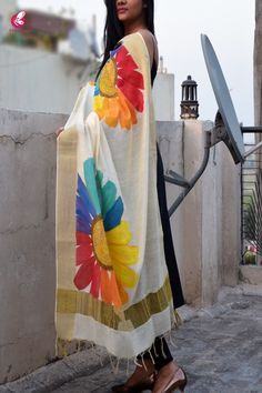 Best 11 Off White Chanderi Floral Handpainted Stole – Stoles Online in India Saree Painting Designs, Fabric Paint Designs, Dress Painting, Fabric Painting, Hand Painted Sarees, Painted Clothes, Kurta Designs, Sleeve Designs, Off Colour