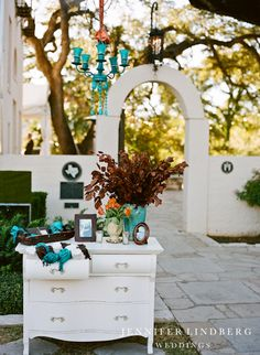 Love indoor furniture (and chandeliers!) outside!