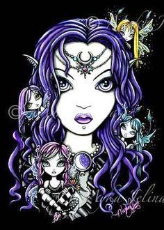 Gothic FAERIES OOAK ACEO Myka Jelina Fairy QUEEN FAE #GothicFantasy