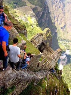 Crazy Scary Photo of The Almost Vertical Stairs at Machu Picchu in Peru