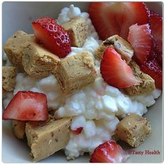 cottage cheese, strawberries, PB Quest Bar