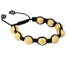 $7.99 - Gold 11mm Shamballa Adjustable Beaded Bracelet    Cute #repintowin @Shadora Jewelry