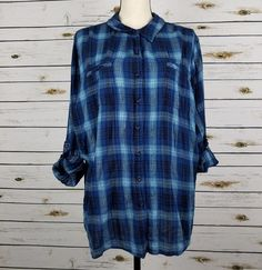 Dressbarn Top Women's 3X Blue Silver Plaid Crinkle Button Front Roll Up Sleeves #tunics