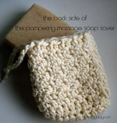 Pampering Massage Soap Saver - pair it with a gorgeous bar of soap for a great gift! Free crochet pattern on mooglyblog.com