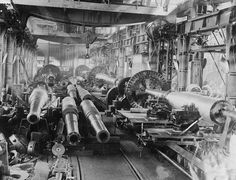 View inside the Heavy Gun Machine Shop at the Elswick Works, Newcastle upon Tyne, (TWAM ref. This image shows and guns being machined.