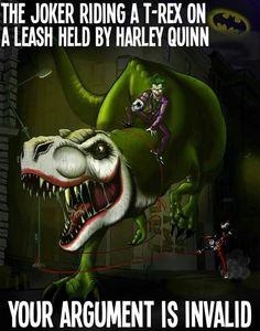 Joker Harley Quinn with a T-Rex