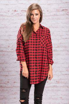Checkmate Button Down Top in Red from The Mint Julep Boutique - There are a lot of different plaids out there. So just to bring it back to basics we bring you this classic black and red 100% cotton plaid button down! It's the one that started it all! Just two colors, a normal cut and nothing crazy! This one will always be in style!