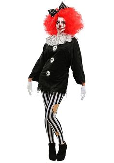 Adult Frightfull Circus Party Clown Womens Costume Creepy Skull Dressing-Up Sure To Scare Your Friends Silly This Halloween Halloween Clown, Evil Clown Costume, Halloween Costumes Women Scary, Fete Halloween, Creative Halloween Costumes, Costumes For Women, Clown Dress, Creepy, Scary Clowns