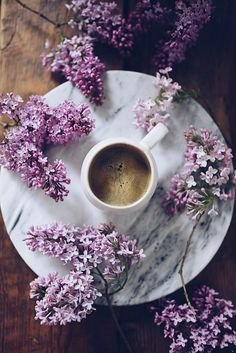 Image about flowers in Coffee and Chocolate by Shorena Ratiani ☕️ Coffee Cafe, Coffee Drinks, Coffee Shop, Coffee Flower, Flower Tea, Lavender Aesthetic, Flower Aesthetic, Morning Coffee Funny, Coffee Girl