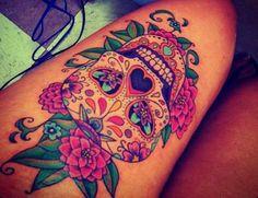 I wish I was badass enough for a sugar skull tattoo like this