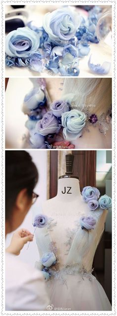 Wonderful Ribbon Embroidery Flowers by Hand Ideas. Enchanting Ribbon Embroidery Flowers by Hand Ideas. Embroidery Flowers Pattern, Silk Ribbon Embroidery, Hand Embroidery Designs, Flower Patterns, Sewing Patterns, Wedding Embroidery, Embroidery Dress, Diy Mode, Organza
