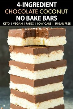 Healthy Paleo Vegan Chocolate Coconut Bars (Keto, Low Carb, Sugar Free)- An easy recipe for homemade chocolate coconut bars made with no sugar, no dairy and the perfect dessert. Sugar Free Desserts, Low Carb Desserts, Easy Desserts, Low Carb Recipes, Diet Recipes, Vegan Recipes, Awesome Desserts, Cheap Recipes, Baking Recipes