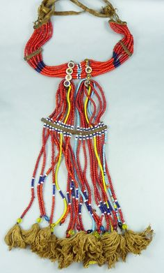 Sidamo or Oromo (Arsi) beaded necklace, Ethiopia - ethnicadornment Tassel Necklace, Necklaces, African Trade Beads, Necklace Types, Ethiopia, African Art, Corsets, Strands, Glass Beads