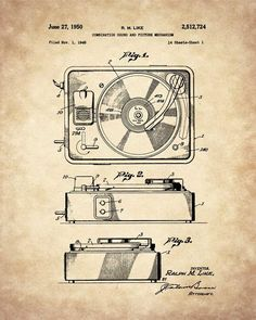Turntable Record Player Patent Print Art, Turntable, Music Lover Gift, Music Room Decor, Office Art, Hipster Decor, Vinyl Record