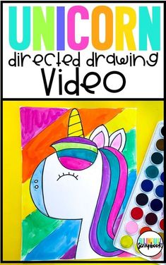 Unicorn directed drawing - How to draw a unicorn FREE video. Perfect for FUN Fridays, early finishers, bulletin boards, art projects, and so much more. Kindergarten Art Projects, Classroom Art Projects, Art Classroom, Projects For Kids, Classroom Pictures, Unicorn Drawing, Unicorn Art, Drawing For Kids, Art For Kids