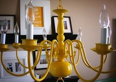 Salvaged Chandelier - Before you get rid of that outdated chandelier in the dining room, grab a bottle of spray paint. The brighter the better when it comes to refurbishing lighting in your home