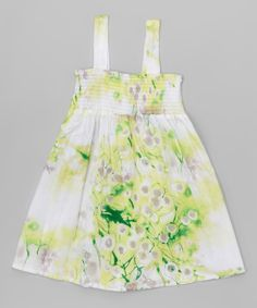 This Green Floral Shirred Babydoll Dress - Toddler & Girls by Funkyberry is perfect! #zulilyfinds