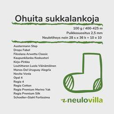 Sukkalankataulukko - Neulovilla Knitting Stitches, Knitting Socks, Diy And Crafts, Knit Crochet, Cotton, Villas, Yarns, Uruguay, Knitting Patterns