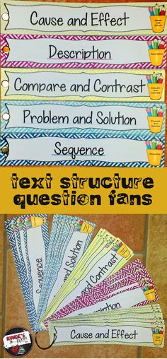Text Structure Question Fans - 75 different questions for examining text structure. Makes 5 separate fans (cause and effect, description, compare and contrast, problem and solution, and sequence), or clip them all together with a binder clip and hang from a hook for easy storage. $