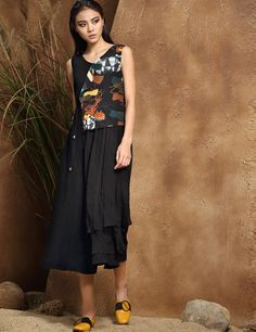 Sleeveless V Neck Print Belted Fake Two-Piece Casual Dress