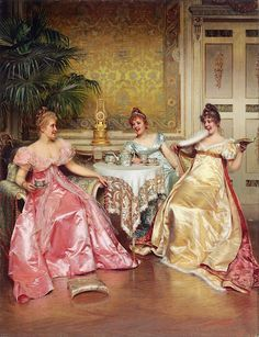 Original oil on canvas by Charles-Joseph-Frédéric Soulacroix entitled Afternoon Tea for Three. French art for sale at M. Classic Paintings, Old Paintings, Beautiful Paintings, French Paintings, Renaissance Kunst, Renaissance Paintings, Victorian Paintings, Victorian Art, Frederic