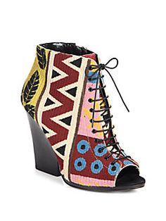 Burberry Prorsum - Virginia Tapestry Lace-Up Ankle Boots