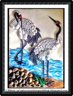 A Journey into Quilling & Paper Crafting: Quilled Picture Landscape- Red Hooded Cranes By The River