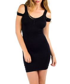 Love this Black Cutout Slimming Bodycon Dress by California Trading Group on #zulily! #zulilyfinds