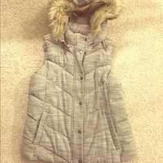 Gap down puffer vest Never worn! This has been sitting in my closet for a year. The hood is detachable, full zip and buttons and pockets. Beautiful tweed color. GAP Jackets & Coats Vests