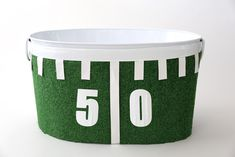 Make this festive drinks tub to hold all of your beverages at your Game Day bash!