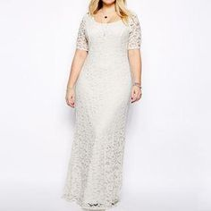 #AdoreWe #YesStyle Melanda Lace Elbow Sleeve Maxi Dress - AdoreWe.com